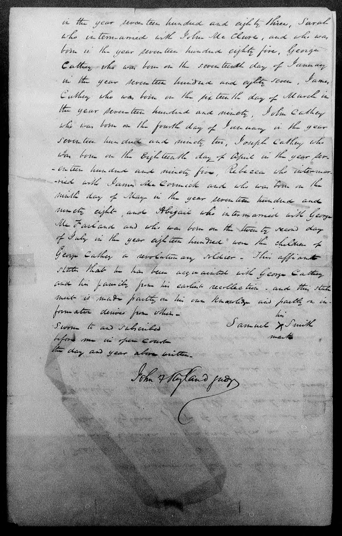 Captain George Cathey's Pension File