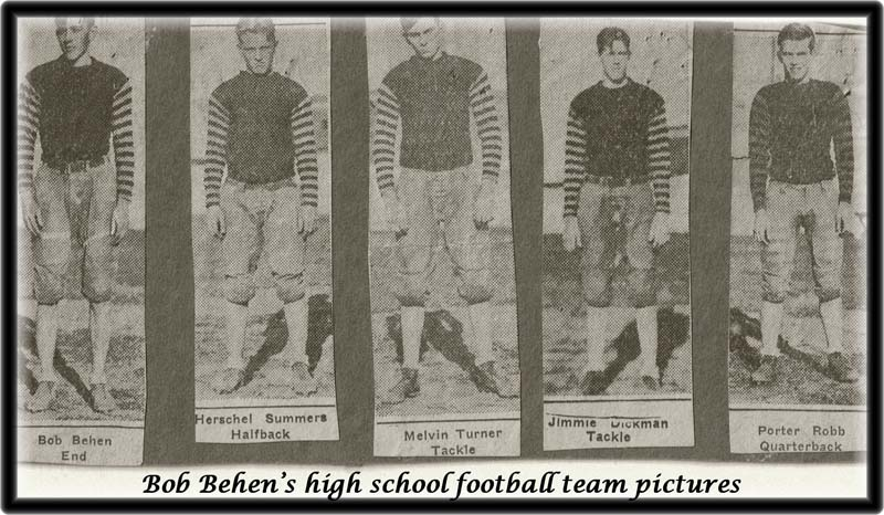Bob Behen's football picture and team mates